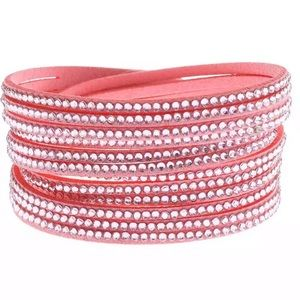 Pink rhinestone vegan leather wrap bracelet NEW